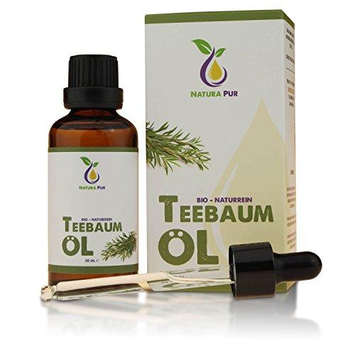Natura Pur Bio Teebaumöl 50ml - 100% naturreines ätherisches Öl aus Australien, vegan - gegen unreine Haut, Hautentzündungen, Anti...