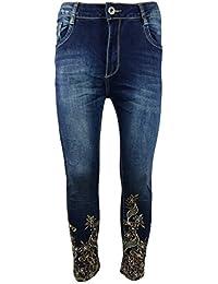 Damen 7/8 Jeans Cropped, verziert mit Stickerei an Beinende, klassischer Five-Pocket-Style aus Denim/Stretch-Mix
