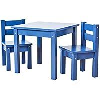 Hoppekids Kindersitzgruppe mit 1 Kindertisch und 2 Kinderstühle, teilmassiv Sehr stabil, viele Farben, Holz, blau, 55 x 50 x 47 cm preisvergleich bei kinderzimmerdekopreise.eu