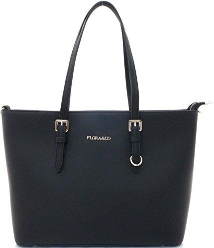 Shopper Tasche Damen Schwarz Flora & Co Handtasche Schultertasche (Länge Taschen)