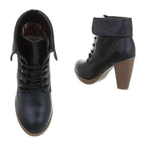 High Heel Stiefeletten Damenschuhe Schlupfstiefel Pump High Heels Schnürsenkel Ital-Design Stiefeletten Schwarz