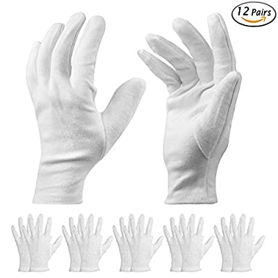 12 Pairs White Cotton Gloves - Cosmetic Moisturizing Gloves for Dry Hands, Eczema, beauty, Coin, Jewelry and Silver Inspection - Unisex