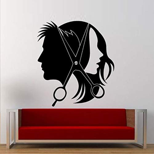 lyclff Friseursalon Mädchen Guy SchereEntfernbare Wandaufkleberfür Friseur Wohnzimmer Vinyl Kunst Aufkleber Tapeten Wandbilder Decor42 * 46 cm