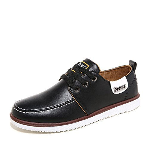 Men's British Style PU Leather Low Top Casual Shoes Black