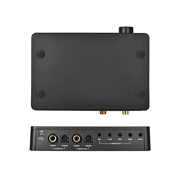 ammoon Audio Box Amplificatore Scheda Audio Portable USB 2.0 192K / 24bit 7.1 Canale HD Amplificatore per Cuffie DAC con Jack per Cuffie da 3,5 mm e 6,35 mm