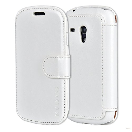 Cover Libro Samsung Galaxy S3 Mini,Custodia Portafoglio Samsung Galaxy S3 Mini,Mulbess Custodia in Pelle con Chiusura Magnetica Flip Cover per Samsung Galaxy S3 Mini Cover - Bianco