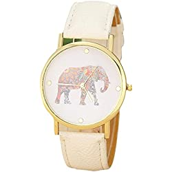 Familizo Women Elephant Printing Pattern Weaved Leather Quartz Dial Watch