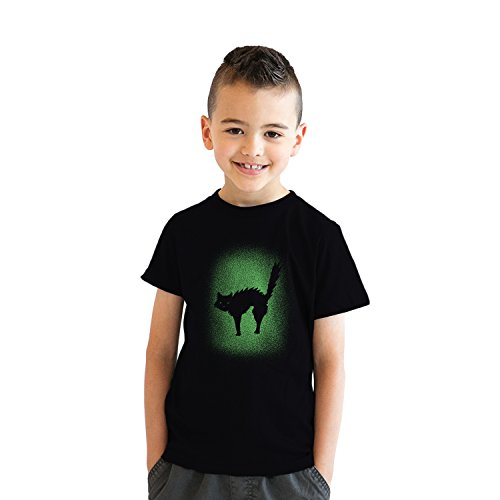 (Crazy Dog Tshirts - Youth Glow In The Dark Cat T Shirt Cool Halloween Scary Cute Tee for Kids (Black) S - Jungen - S)