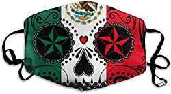 Face Masks Anti-Dust Mouth Cover Designer Mexican Flag Sugar Skull Washable and Reusable Mask Warm Windproof for Women Men Boys Girls Kids