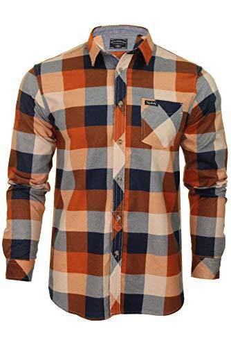 Tokyo laundry - camicie casual - 'stratford' - scacchi, quadretti - con colletto - manica lunga - uomo (arancio bruciato) l
