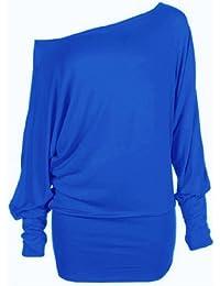 Funky Boutique - Haut Femme Manche Chauve-Souris Longue Uni 1 Epaule Découverte - S-M 36-38, Bleu Electrique