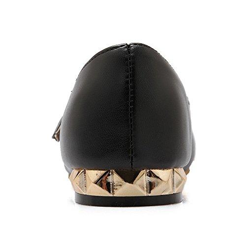 AgooLar Femme Couleur Unie Verni Non Talon Pointu Boucle Chaussures à Plat Noir