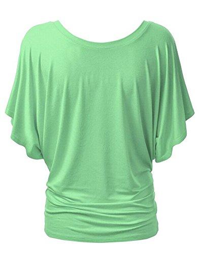 Moollyfox Ras Du Cou La Femme Manches Courtes Tops Chemise Vert