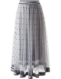 Fanessy Femme Jupe d été Jupon Léger Mode Maxi Jolie Jupe Élégant Plissé en  Tulle 4b69ac851277