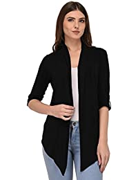 Espresso Women's Viscose Waterfall Shrugs with Button Foldable Sleeve