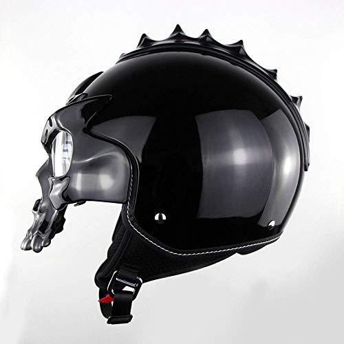WSYY-helmet Helm mit halbem Totenkopfhelm Motorrad Jet Bobber Chopper Crash Cruiser Helm Eingebaute UV-Gläser Abnehmbare Maske DOT-Zertifiziert Moto Dark Knight,Black,XXL (The Dark Knight Masken)