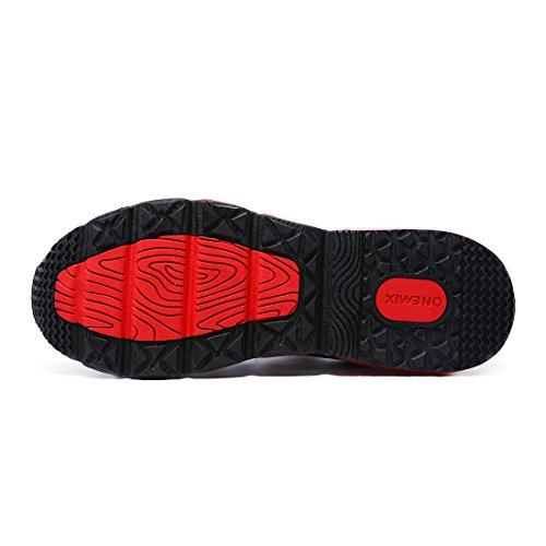 Onemix Chaussures de Sport Homme Tricoter Coussin dAir Black / White / Red