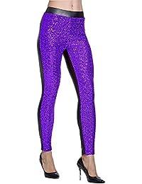 Huixin Bleistifthose Damen Hosen Vorne Mit Pailletten Skinny Elegant  Leggings Stretch Elastische Taille Trousers Freizeithose b68915efed