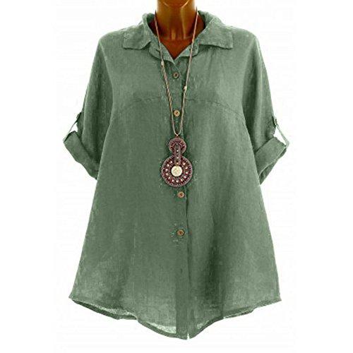 WINWINTOM Damen Blusen Elegant Langarm Freizeit Oberteil Lose Langarmshirt V-Ausschnitt Tunika Sommer T-Shirt Top Women's Casual Solid Bluse Halbarm Shirt Button Tops