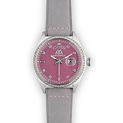 Watch Marco Mavilla Vintage Silver Swarovski Crystals Enamel Pink Leather Strap Ashgrey