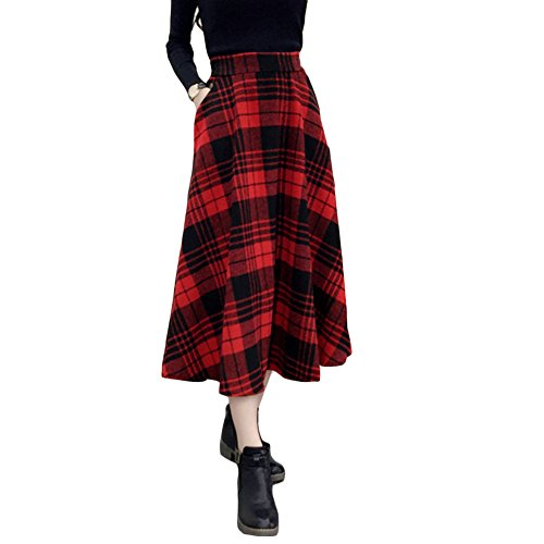Romacci Falda a Cuadros Faldas Midi Mujer Falda a Media Pierna Cintura Alta A-Line Vintage Warm