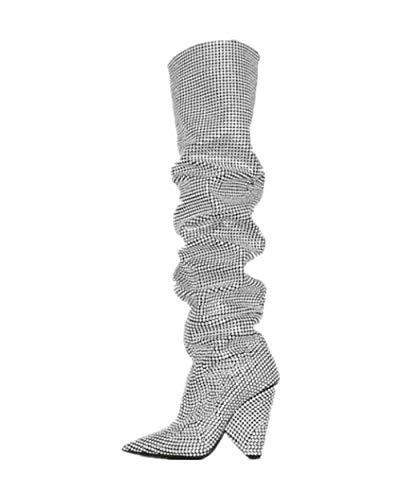 Kalb Hohe Plattform (ZPL Shoes Deman Oberschenkel Hohe Stiefel Kniehohe Overknee Stiefel High Heels Stiefel Spitze Toe Frauen Schuhe Strass Kristall Größe 35-46,Silver,EU41/UK7.5)
