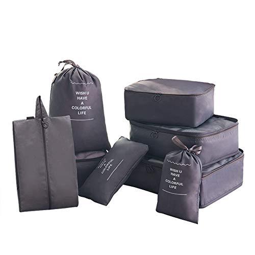 8 in 1 Kleidertaschen Set Koffer Organizer Reise Kleidertaschen Reisetasche in Koffer Wäschebeutel Schuhbeutel Kosmetik Aufbewahrungstasche Farbwahl Grau EINWEG