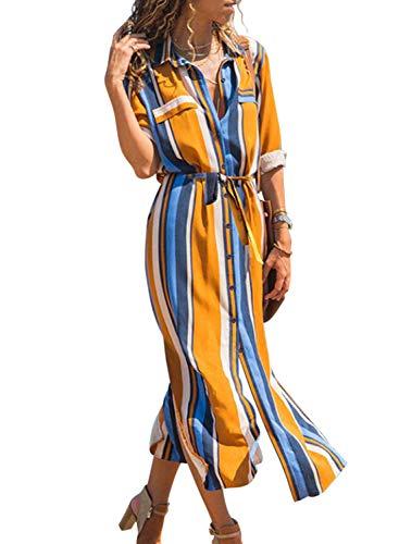 Happy Sailed Damen Langarm Gestreift Elegant Lang Blusenkleid Hemdkleid Shirt Kleid Oberteil Kleid Maxikleid mit Gürtel , orange/blue (229-22), L (Orange Shirt Gestreiftes)