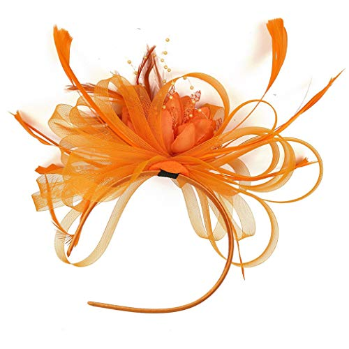 Dorical Fascinator Retro Schreier Hut Kopfschmuck 1920er Damen Mädchen Braut Klassisch Haarschmuck Vintage Mode Schleier für Weihnachten Halloween Braut Tea Party Kostüm Karneval Fasching(Orange)