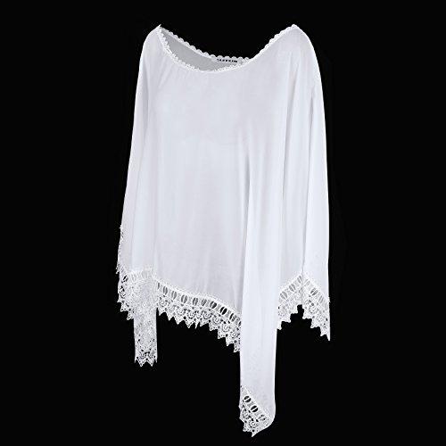 SUNNOW® Damen Sommerkleid Strandkleid Bikini Cover Up Badebekleidung Bademode Minikleid Frauen Blusen Oberteil Weiß