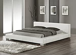 klassisches leder bett wei es lederbett 180x200. Black Bedroom Furniture Sets. Home Design Ideas