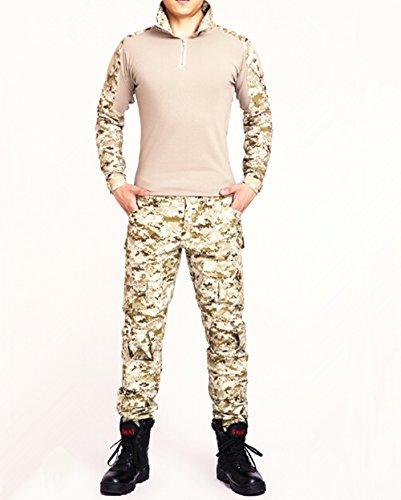 Esercito Commando Camouflage rana passt Camouflage pantaloni Tactical morbida respirare resistente all' usura giacca + pantalone Jungle Camouflage Uniform, sand camo, M