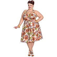 Hell Bunny Kaila Palmier Tropique Rockabilly Robe Taille large
