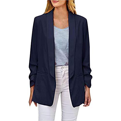 ❤️ AG&T ❤️ Damen Casual Arbeit Büro Blazer Seitentaschen Knopf 3/4 Ärmel Suits Jackes (Vornehme Dame Kostüm)
