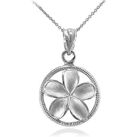 Donne Collana Pendente 10 Ct Bianco Oro Cordata Circolo Hawaiano Plumeria Fiore Fascino (Viene Fornito Con Una Catena Da 45cm)