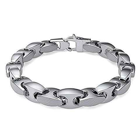 Coolman élégant en Acier Inoxydable Pur H-link ton Argent Bracelet pour Hommes Femmes 22,4 cm