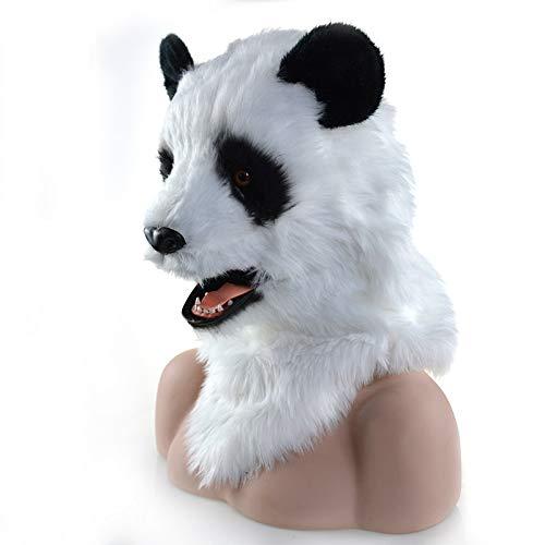 WENQU Halloween Party bewegen Mund Panda Maske Kreatur Fursuit Maske Tier Karneval Panda Masken (Color : White, Size : 25 * (Panda Kostüm Kopf Nur)