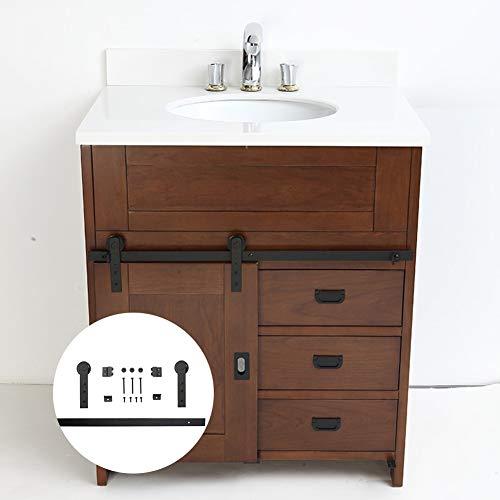 Armoire de salle de bain Mini Porte de Grange coulissante kit matériel F04-100cm noir