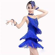 Trajes de Vestir de Baile de Tango Vestido de Baile para niñas Rendimiento  de Flecos Traje 480be9f6a7f