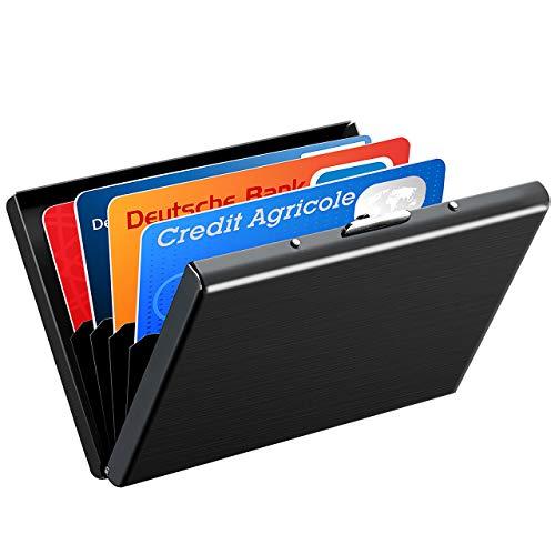 ATMOKO Kreditkartenetui 6 verstärkte Kartenfächer RFID Blocker Visitenkartenetui Scheckkartenetui Metall Kreditkartenetui Kartentasche Bankkartenetui Kreditkartenbox für Damen und Herren 1,3 M-box