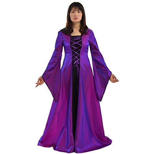 n Mittelalterlich Renaissance Mit Kapuze Kleid Rock (Lila, 2XL) (Lila Renaissance Kleider)