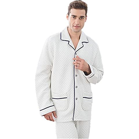 DMMSS Pareja pijamas de algodón con cuello en v manga larga pijama Set , men , xxl
