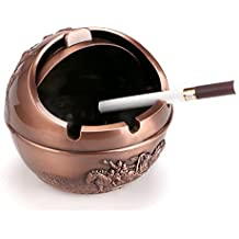 BTSKY Cenicero con Tapa Flexible Resistente al Viento Cenicero Práctico para Cigarrillo Metal Castillo Patrón Cenicero Hermético para Uso en Hogar