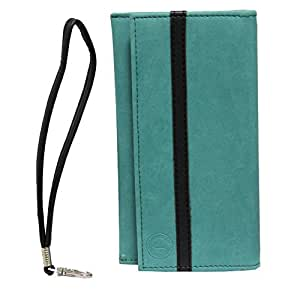 Jo Jo A5 Nillofer Leather Wallet Universal Pouch Cover Case For Celkon Q500 Millennium Ultra Light Blue Black