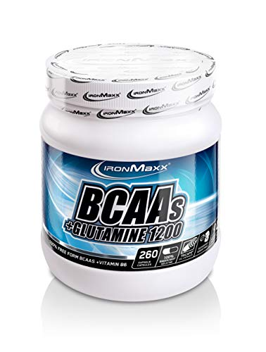 IronMaxx BCAA's + Glutamin 1200 – Pre Workout Booster für die extra Portion Power im Krafttraining – 1 x 260 Kapseln