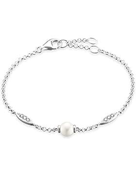 Thomas Sabo Damen-Armband Glam & Soul 925 Sterling Silber Süßwasserzucht-Perlen Länge von 16.5 bis 19.5 cm A1550...