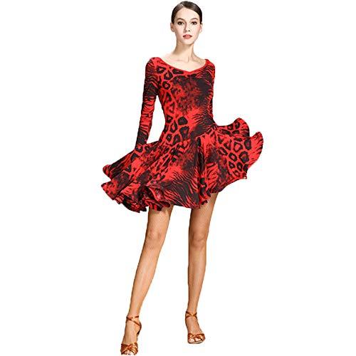 Dance Hot Latin Kostüm - ZTXY Latin Dance Kleider Für Frauen Lyrical Modernes Kostüm Roter Leopardenmuster Langarm Kleider Einfacher Fischschwanz Rock Dance Class Cocktail Rumba Latin Waltz,M