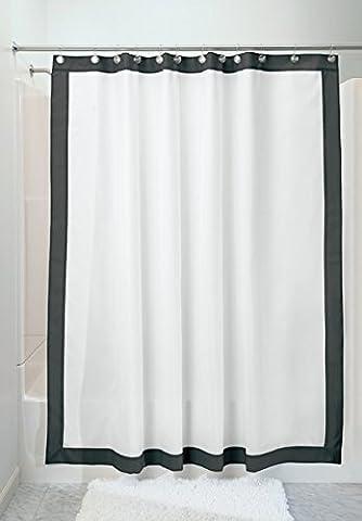 mDesign rideau de douche anti-moisissure – rideau de bain et douche étanche, noir/blanc – accessoire de salle de bain avec 12 anneaux en acier inoxydable pour une suspension facile – 180 cm x 180 cm