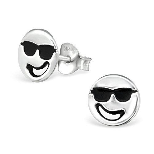 Laimons Mädchen Kids Kinder-Ohrstecker Ohrringe Kinderschmuck Smiley Gesicht Cool fröhlich Sonnenbrille Platte Scheibe oxidiert glanz aus Sterling Silber 925