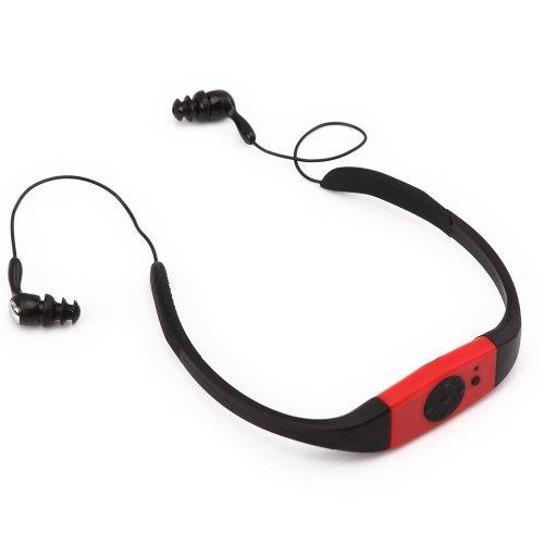 Omiu - 2013 Nouveau Baladeur MP3 étanche avec FM radio 4GO USB pour Sports Natation Surf SPA Plage, Piscine, Douche, Mer - Rouge
